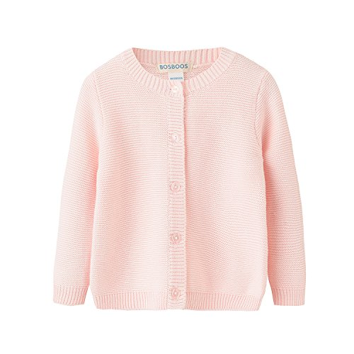 Baby Boys Girls Solid Cotton Cardigan Sweater (24M, Pink)
