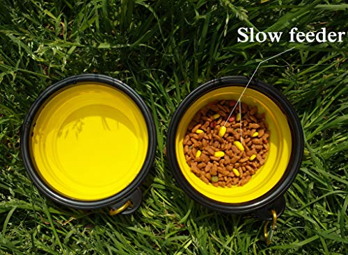 350ml Bowl - Dog Bowls Slow Feed Cat Bowl Silicone Portable Foldable Water Bowls Food Container Travel Bowl with Carabiner Outdoors Travel 350ml 2 Pack Yellow