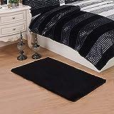 CWKTITI® Super Soft Modern Area Rugs Living Room Carpet Bedroom Rug Solid Home Decorator Floor Rug and Carpets 2.6- Feet By 5- Feet (Black)