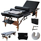 3 Fold 84'L Portable Massage Table Facial Bed W/2 Bolster+Sheet+Cradle Cover