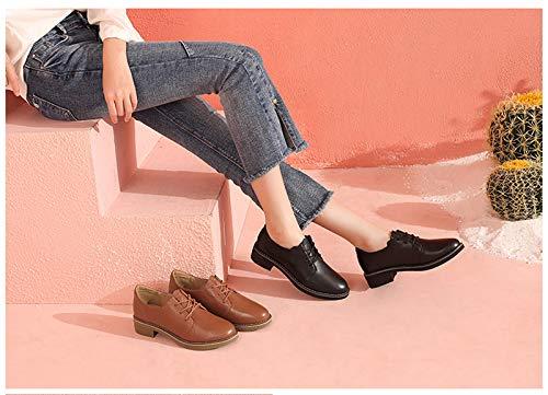 Zapatos Encaje Color Mujer De Negro Universitario Femenino Otoño Estilo Simple Solos Cuero Opcional OArOq6Uw