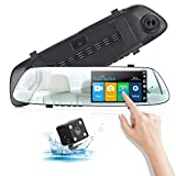 Mirror Dash Cam,Poaeaon Backup Camera 4.7 inch Dash Cam IPS Touch Screen 1080P HD Rearview Front and Rear Dual Lens with Parking Monitor, Loop Recording, G-Sensor, Night Vision(150 Degree Degree Wid