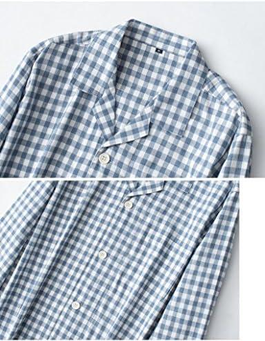 パジャマ メンズ 長袖 綿100 二重 ガーゼ 前開き 上下 セット チェック柄 ルームウェア 春 夏 ルームウェア 部屋着 寝間着