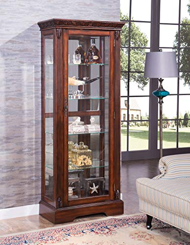 - Acme Furniture Industry, INC Traditional Curio Cabinet in Cherry