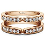 TwoBirch 1/2 ct. Cubic Zirconia X Style Channel Set Jacket Ring Guard in Rose Gold Plated Sterling Silver (0.48 ct. twt.)