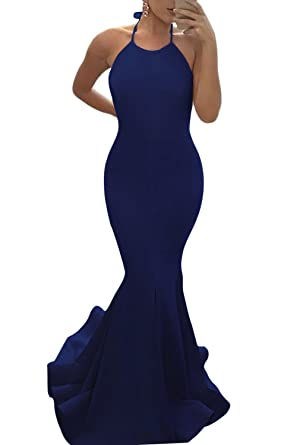 MARSEN Womens Sexy Halter Backless Prom Dress 2017 Long Mermaid Evening Gown Navy Size XS