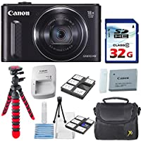 Canon PowerShot SX610 HS - Wi-Fi Enabled (Black) with 32GB High Speed Memory Card + Deluxe Camera Case + Flexible Spider Tripod + Starter Kit + Deluxe Accessory Bundle Overview Review Image