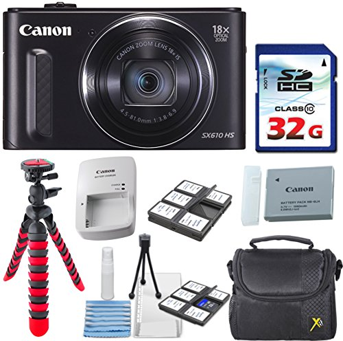 Canon PowerShot SX610 HS – Wi-Fi Enabled (Black) with 32GB High Speed Memory Card + Deluxe Camera Case + Flexible Spider Tripod + Starter Kit + Deluxe Accessory Bundle
