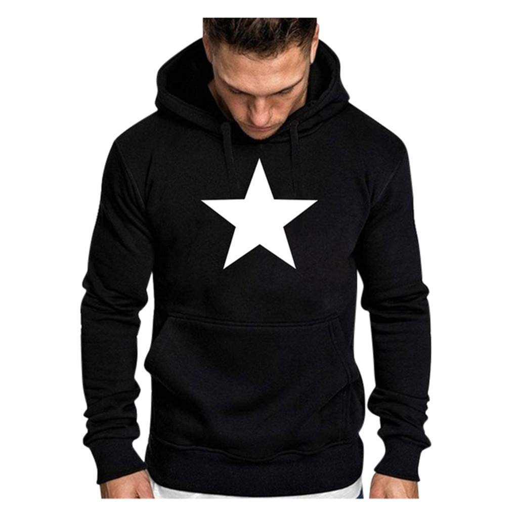 DIOMOR Mens Casual Star Print Hoodie with Kanga Pockets Outdoor Lightweight Hooded Tops Sweatshirt Basic Pullover
