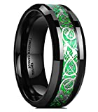 King Will Dragon Men's 8mm Green Carbon Fiber Silver Celtic Dragon Tungsten Carbide Ring Comfort Fit Wedding Band 7