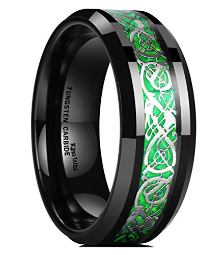 King Will Men's 8mm Green Carbon Fiber Silver Celtic Dragon Tungsten Carbide Ring Comfort Fit Wedding Band (9.5)