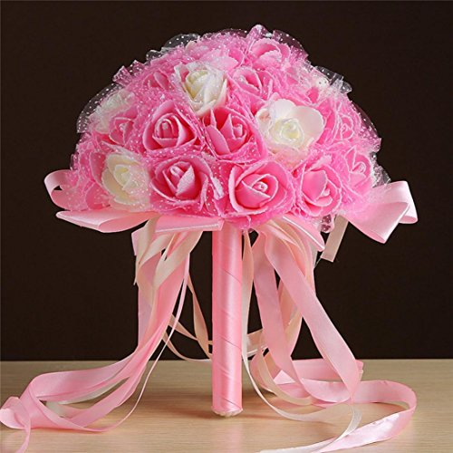 Anshinto Fake Crystal Ribbon Roses Bridesmaid Wedding Bouquet Bridal Artificial Silk Flowers (B)