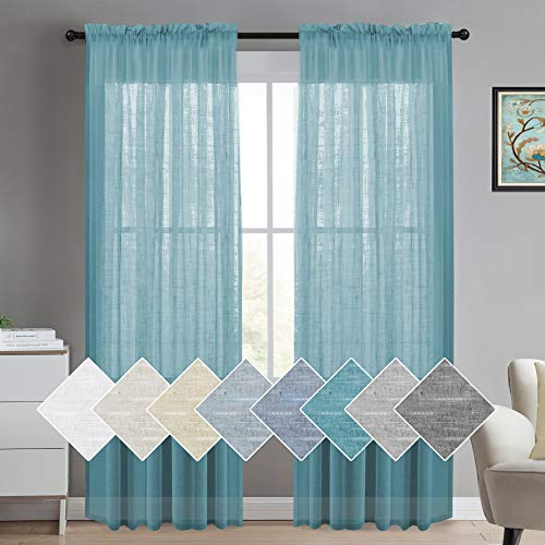 Linen Curtains 84 for Bedroom Linen Panels Casual Weave Textured Privacy Linen Blended Window Treatment Curtains for Living Room 2 Panels, 2 Panels, Turquoise (Curtains Turquoise Light)