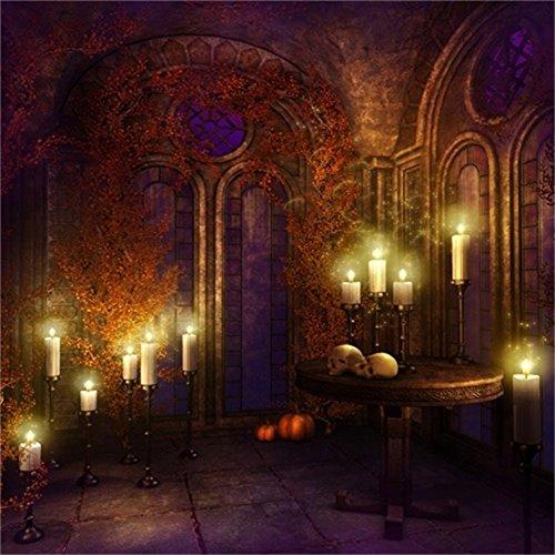 LFEEY 6x6ft Horror Gothic Interior Backdrop Gloomy Retro Medieval Room Skull Burning Candles Photography Background Scary Halloween Night Vampire Photo Studio Props Vinyl Banner -