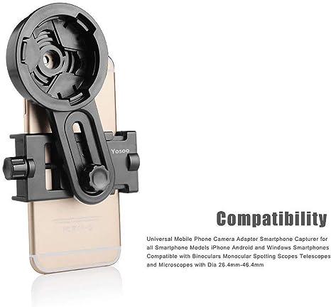 Adaptador universal Yosoo, para telescopio astronómico para un smartphone, soporte de cámara de 26,4 a 46,4 mm: Amazon.es: Electrónica