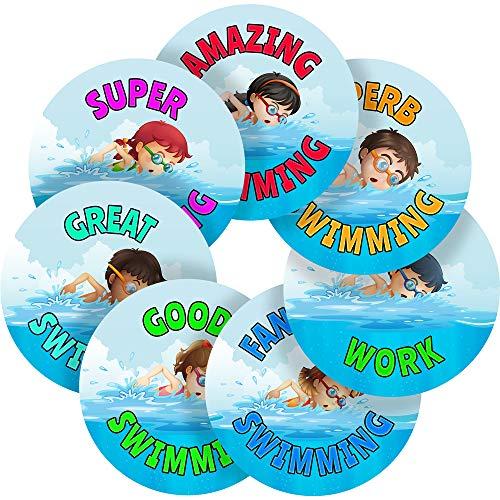 Kids Swimming Motivational Praise Reward Sticker Labels, 35 Stickers @ 1.4
