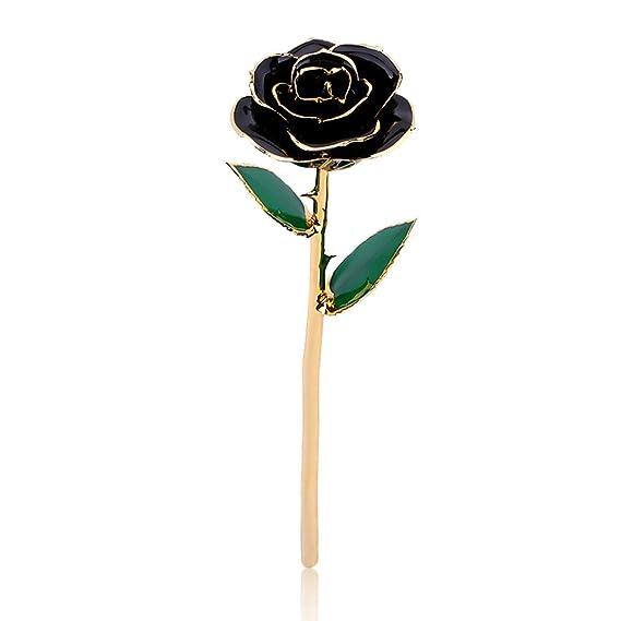 Rosa de oro de 24 quilates con soporte de exhibición transparente para ella, hecho de rosa fresca, Acción de gracias/Navidad/San ...