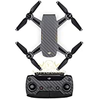 SopiGuard Gunmetal Gray Carbon Fiber Precision Edge-to-Edge Coverage Vinyl Sticker Skin Controller 3 x Battery Wraps for DJI Spark