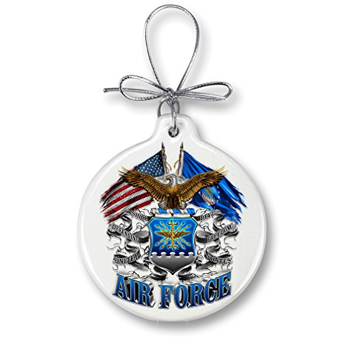 Christmas Ornaments - United States Air Force Gifts for Men or Women - USAF Ornaments with a Silver Ribbon - Air Force Eagle Double Flag Xmas Ornaments (1 Piece)