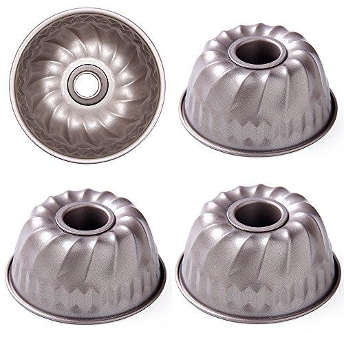 Lufeiya Mini Bundt Pan 4 Inch Kugelhopf Mold Nonstick Baking Cake Pans 4pcs Set (Kugelhopf Mold)