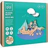 Gigi Bloks Bloques de Construcción Gigantes de Cartón | Set de Regalo Puzzle de Avión y Barco con 30 Ladrillos Apilables XL, Plantillas, Pinturas y Pegatinas | Juegos de Habilidad para Niños