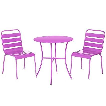 Conjunto de Mesa y sillas para terraza Lila de Acero Garden ...