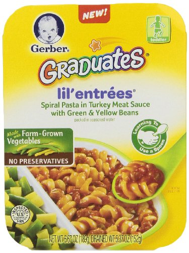 Gerber Graduates Lil Entrees Spiral Pasta with Turkey Meat Sauce, 6.67 oz., 8 Count