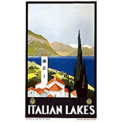 Italian Lakes Vintage Travel Poster (24x36 Paper Poster)