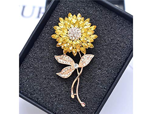 Decoartion Fashion Sunflower Brooch Plant Corsage Crystal Jewelry Clothes Brooches for Women's Gift(Gold+Yellow) for Shawl (Brooch Sunflower Crystal)