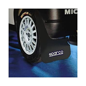 MSA 4 x White Sparco Logo Rally Style Car Exterior Styling Mudflaps Universal Fit
