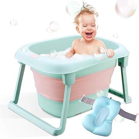 Bañera de bebé, bañera infantil plegable, soporte de baño portátil ...