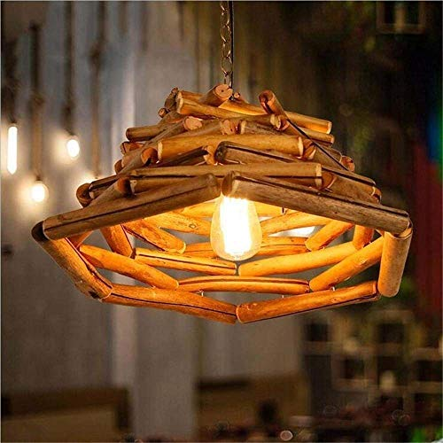 - Qingbaotong Modern Creative Japanese Chandelier Bedroom Restaurant Lounge Solid Wood Bamboo Woven Branches Lighting Stylish and refined