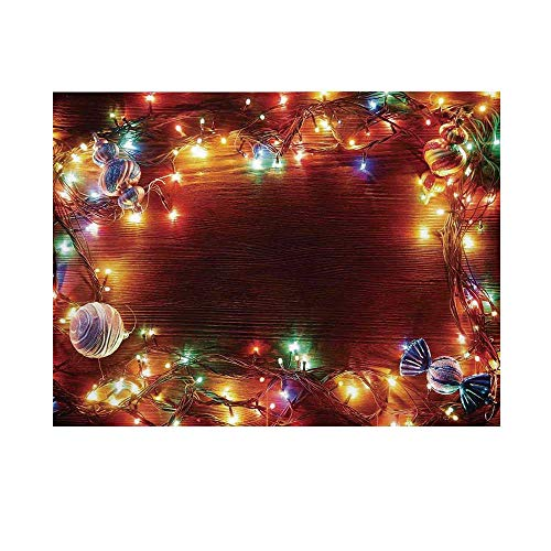 Christmas Decorations Photography Background,Fairy Lights on Wooden Rustic Pine with Ornaments and Candy Lollies Backdrop for Studio,20x10ft