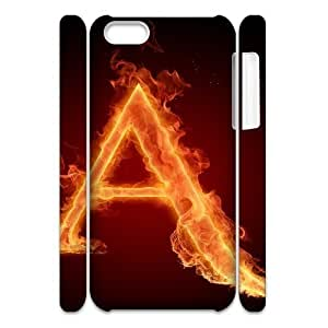 iphone 5c Case 3D, Burning Letter A Case for iphone 5c white lmiphone 5c171516