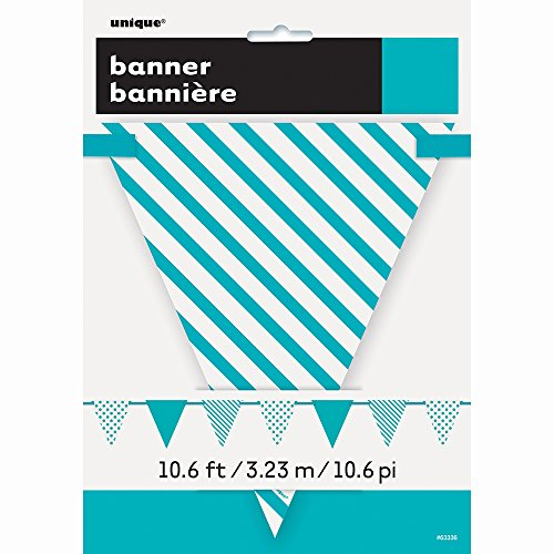 12ft Teal Polka Dot and Striped Pennant Banner -