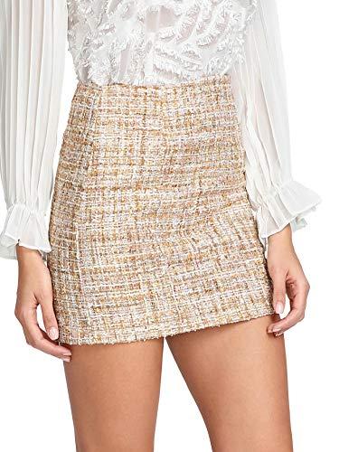 (WDIRARA Women's Mid Waist Above Knee A-Line Tweed Mini Short Plaid Skirt Multicolor M)