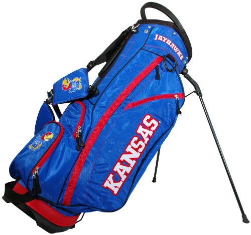 (Team Golf NCAA Kansas Jayhawks Fairway Golf Stand Bag, Lightweight, 14-way Top, Spring Action Stand, Insulated Cooler Pocket, Padded Strap, Umbrella Holder & Removable Rain Hood)