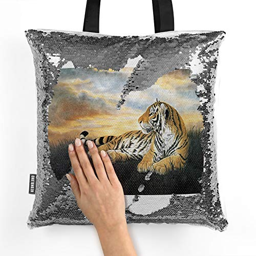 NEONBLOND Mermaid Tote Handbag Tiger in the Sunset Reversible Sequin