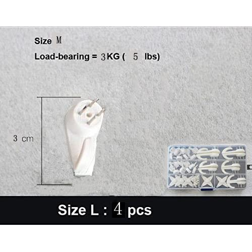 (39-Hook) Creative Multi Function Invisible Hardwall Drywall Picture-Hanging Hooks Clock Hanger Non-Trace Wall Picture Hook Frame Wedding Photos Mirror Wall Studs, White
