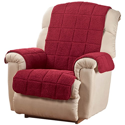 OakRidge Waterproof Quilted Sherpa Recliner Cover Comforts, Burgundy