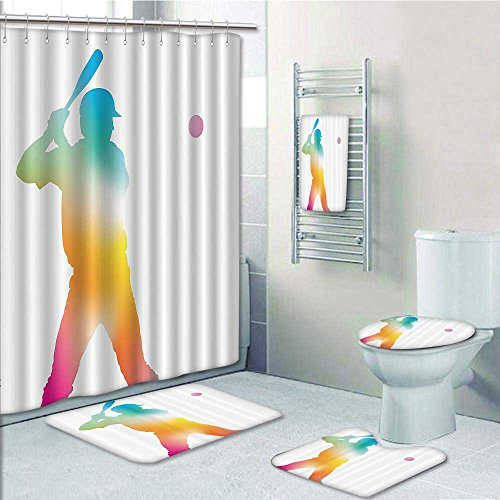 5-Piece Bathroom Set-Reflecti of Baseball Player Batter Softball Hitter Swinging Arms Home Prints Decorate The Bathroom,1-Shower Curtain,3-Mats,1-Bath Towel