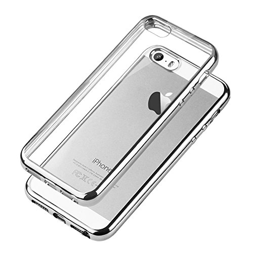 iPhone SEケース、iPhone 5Sケース、TechRise iPhone SE 5Sケースカバー衝撃吸収バンパー付きアンチスクラッチクリスタルクリアバック - グレー   B01LZAX8ZE