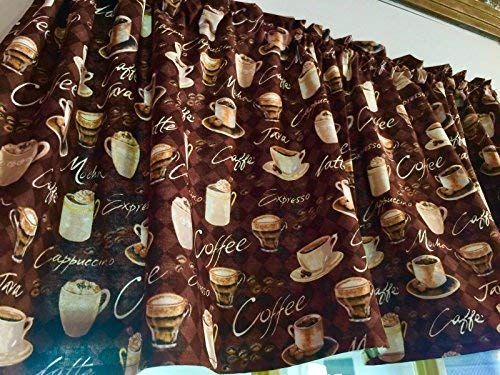 Chocolate Brown Window Curtain UNLINED Valance made from Coffee Java Mocha Cappuccino Cotton fabric