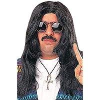 60s Hippie Wig (Negro) Accesorio de disfraz de Halloween adulto unisex
