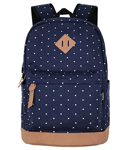 Navy Blue Polka Dot - SAMGOO Unisex Packable Lightweight Canvas College Backpacks Travel Hiking Laptop Backpack Rucksack Schoolbags School Book bag Daypack (Navy Blue Polka Dot)