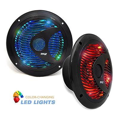 Pyle Hydra Waterproof Marine Grade Speakers, Built-In Multi-Color LED Lights