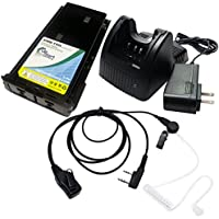 Kenwood KNB-15H Two-Way Radio Battery + Charger + FBI Earpiece with Push to Talk (PTT) Microphone For Kenwood TK-272G, Kenwood TK-3101, Kenwood TK-2100, Kenwood TK-360, Kenwood TK-370, Kenwood TK-372G