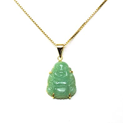 Amazon gold plated sterling silver green chinese jade buddha gold plated sterling silver green chinese jade buddha pendant necklace mozeypictures Images