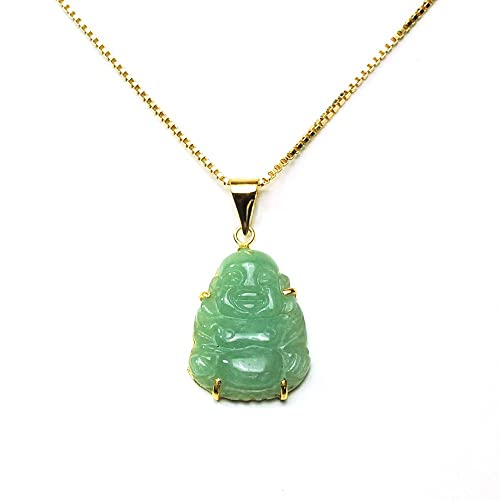 dbd8f94167978 Amazon.com: Gold Plated Sterling Silver Green Chinese Jade Buddha ...