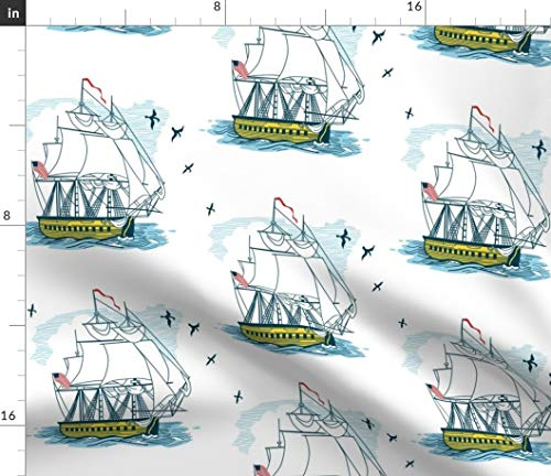 Spoonflower Sailing Fabric - Seaward Bound Nautical Nursery Decor Boats Sailboats Sea Ship Ocean Palette Print on Fabric by The Yard - Fleece for Sewing Blankets Loungewear and No-Sew Projects